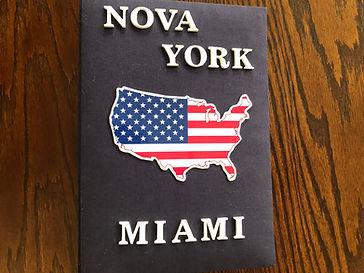 Álbum de fotos com folhas plásticas para 250 fotos 10x 15. Cada folha tem capacidade para 4 fotos e espaço para colocação de memo descritivo sobre as fotos, que vem junto com o álbum. Capa revestida com tecido,decorada com aplique de mapa do EUA e nomedas cidades visitadas em letras de MDF. Montagemcom parafusos. Verificar disponibilidade de estampas.  Frete não incluído. Medidas: 27,0 x 19,0 x 7,0 cm (C x L x A) Peso: 1.300g Prazo de produção: 20 dias corridos  Valor: R$ 200,00