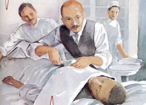 A portrait of Dr. Williams performing the first open-heart operation. STEME Valentine's Day tribute with descriptions of the anatomical heart, heart chambers, history, love, love hormones, oxytocin, broken heart, heart surgery, open heart surgery, Dr. Daniel Hale Williams, the first African American physician admitted to the American College of Surgeons, valves, atria, ventricles, blood, arteries, artery, vein, James Cornish, broken heart syndrome, STEM, Steme