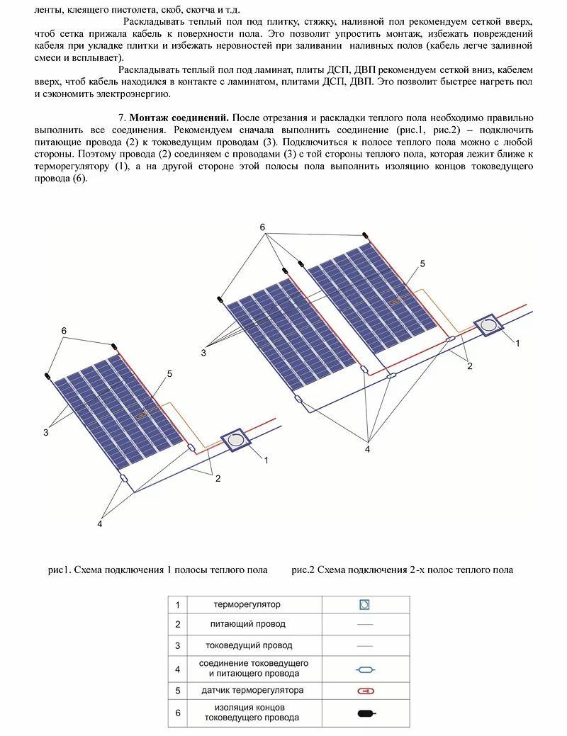 Инструкция по установке секций теплого пола на отрез