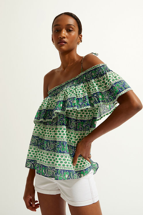 Austin Cold Shoulder Top - Green Antik batik