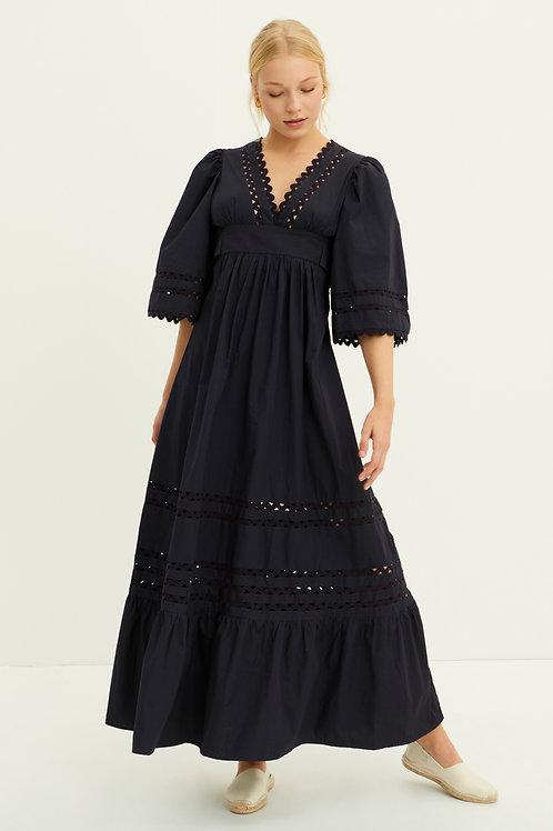 Mali Poplin Maxi Dress - Navy Blue Antik Batik