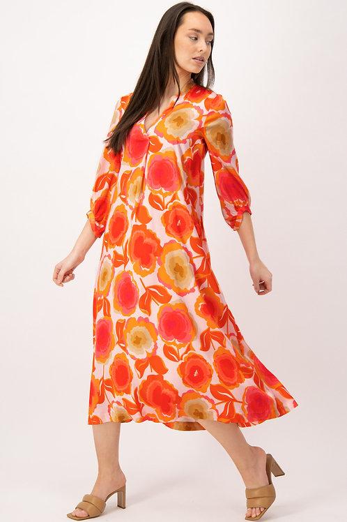 Midi jurk met pink en oranje print Louis en Mia