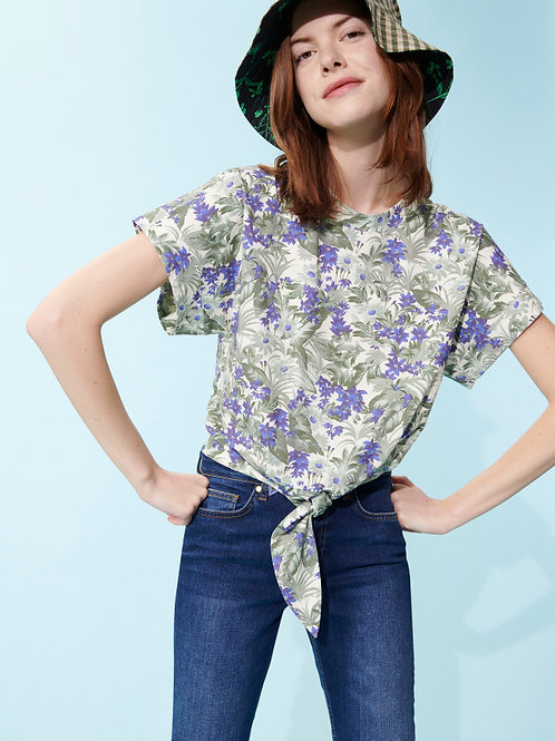 TAMMI KNOTTED OFF-WHITE COTTON T-SHIRT WITH FLOWER AND PAMPAS PRINT Tara Jarmon