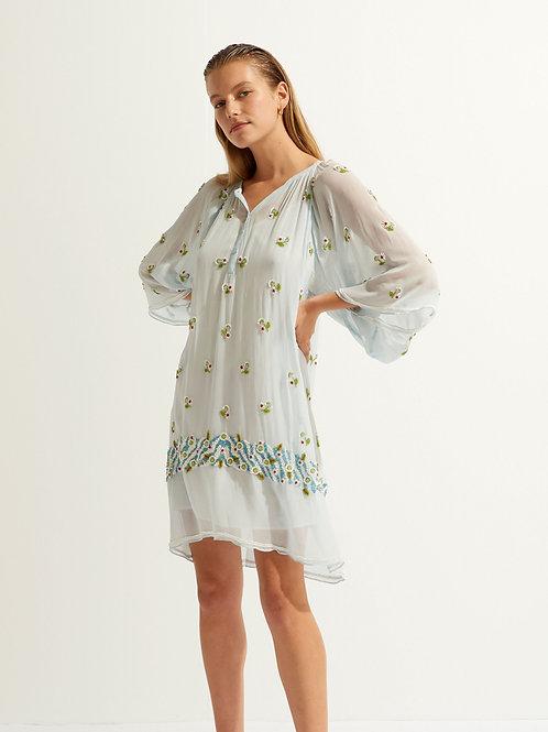 Beata Beaded Embroidered Short Dress Antik Batik