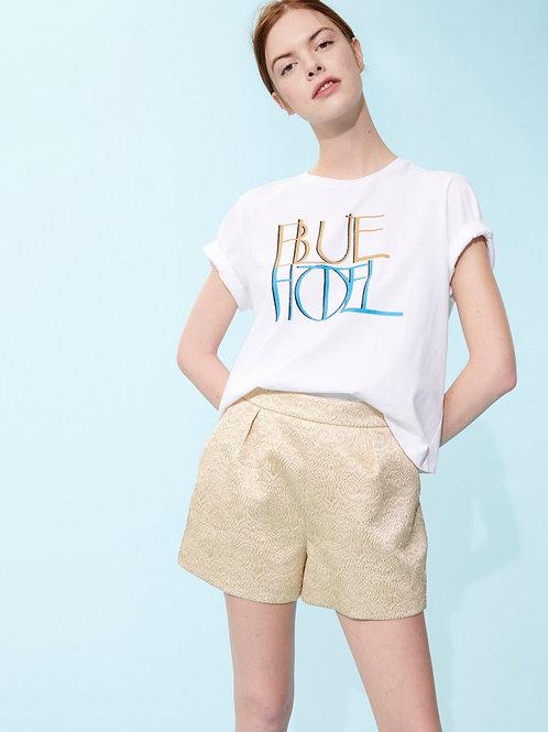 WHITE TIKOI T-SHIRT BLUE HOTEL PRINTED Tara Jarmon