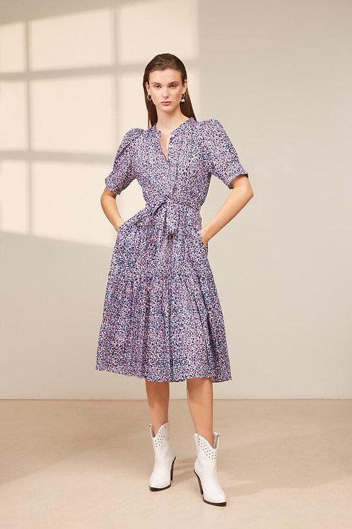 Confettis print belted long dress Calix Suncoo