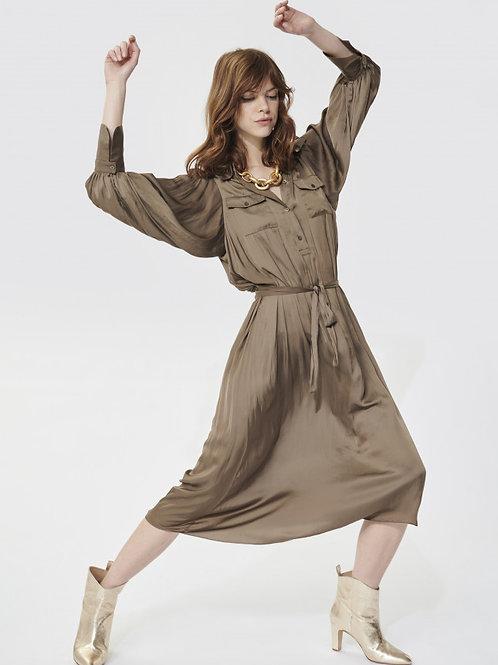 REYNOLDS KHAKI CRINKLE SATIN DRESS Tara Jarmon