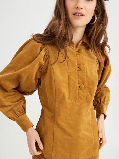 Mona velvet blouse Ochre