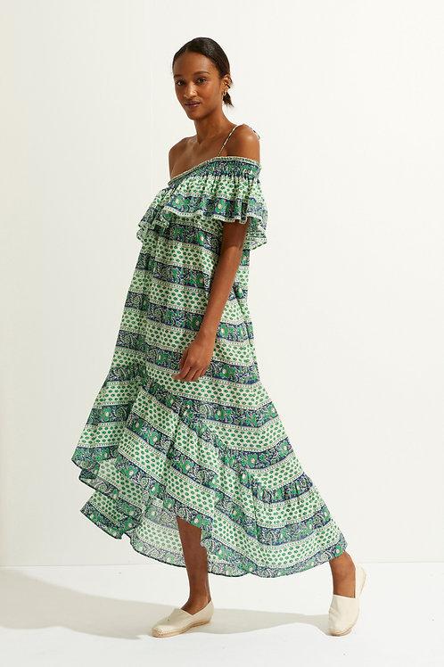 Austin Asymmetrical Maxi Dress - Green Antik batik