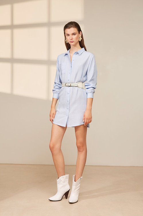 Striped belted shirt dress canita Suncoo