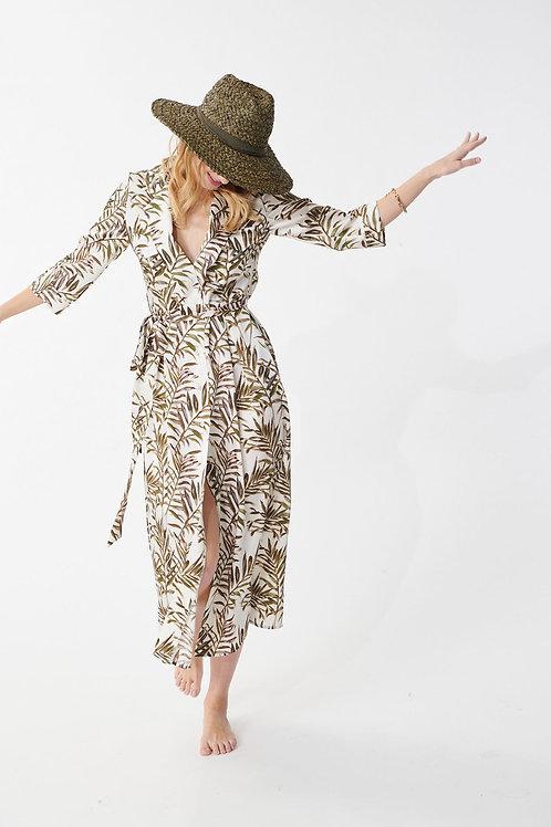 Robe Reyna écrue imprimée palmes