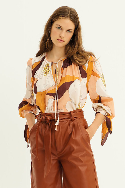 Miami Printed Blouse - Brown Antik Batik