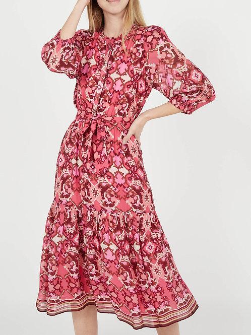 COLEEN - Halflange jurk met ronde hals en print Rood Suncoo