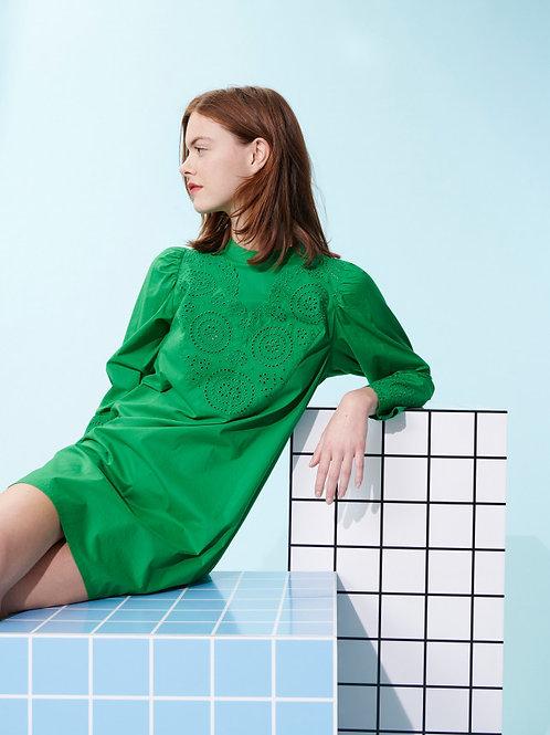 EMERALD GREEN COTTON REED DRESS WITH ENGLISH EMBROIDERY Tara Jarmon