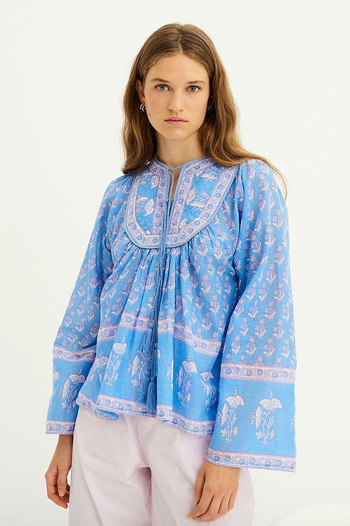 MORI PRINTED BLOUSE - BLUE Antik Batik