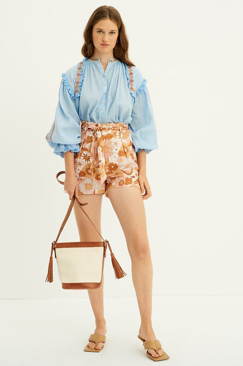 Pietro Embroidered Blouse - Blue
