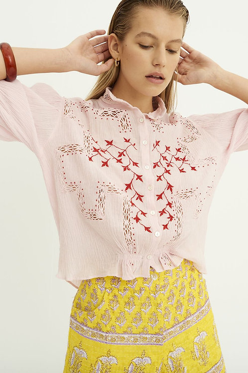 Suzie Embroidered Blouse - Pink