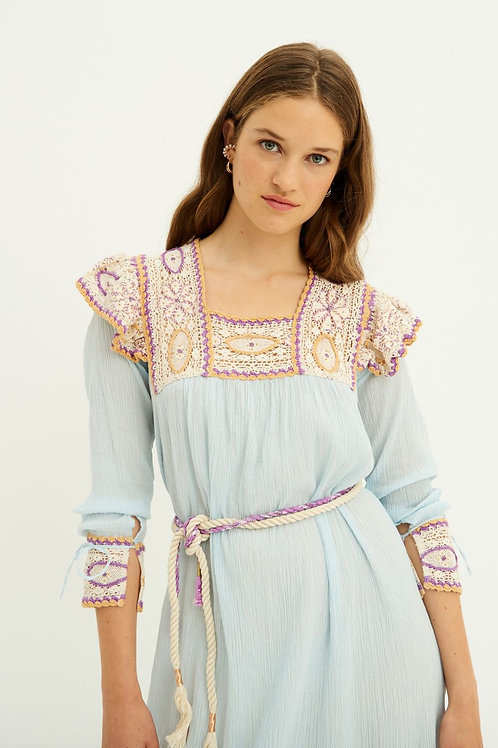 Lucia Crochet Maxi Dress - Sky Blue Antik Batik