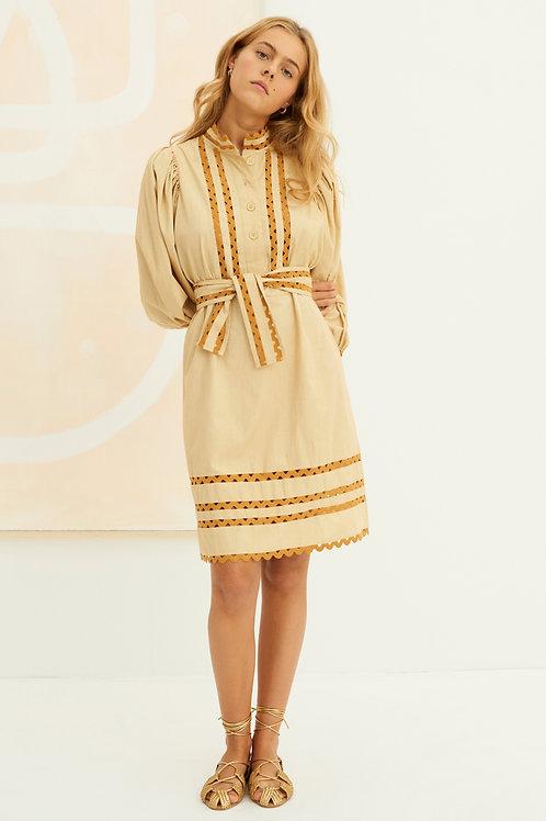Mali Poplin Puff Sleeve Midi Dress - Beige Antik Batik
