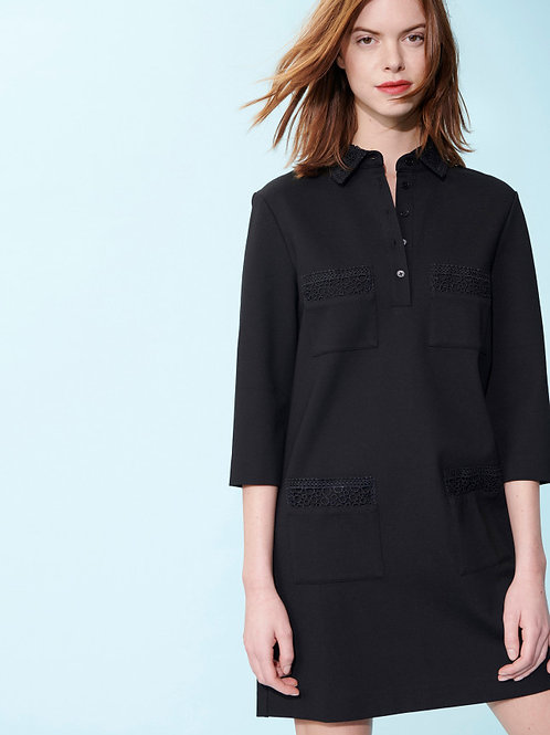 BLACK ROMAN DRESS WITH LACE DETAILS Tara Jarmon