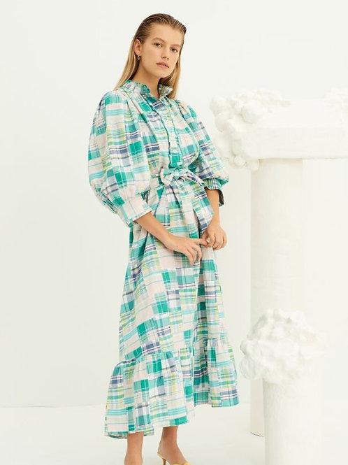 Alama Patchwork Maxi Dress - Green