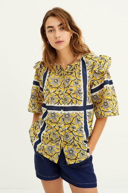 Marius Printed Flowing Blouse - Yellow Antik batik