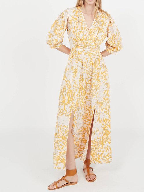 CERES - Lange jurk van linnenmix met V-hals en print Geel Suncoo