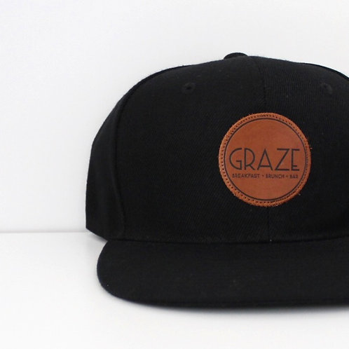 Graze Leather Black Snapback Hat