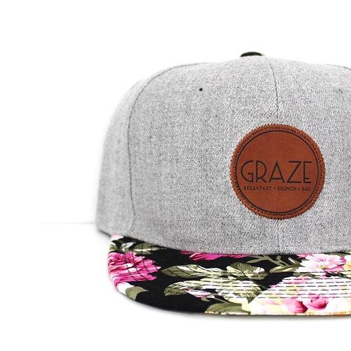 Graze Leather Grey Snapback Hat