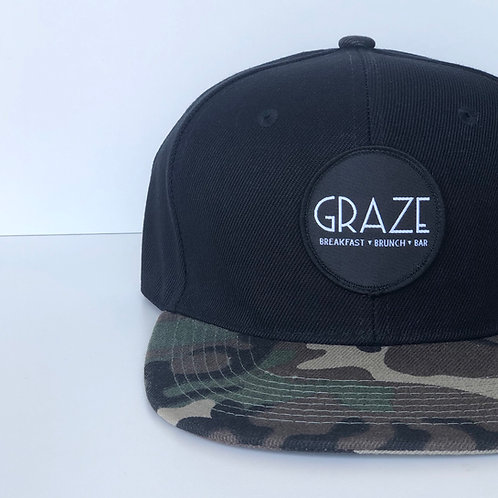Graze Black Camo Snapback Hat