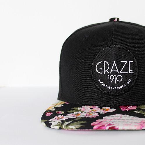 Graze 1910 Black Floral Snapback Hat