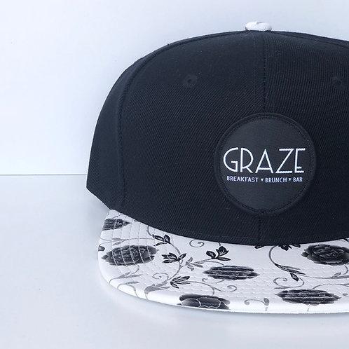 Graze B/W Floral Snapback Hat