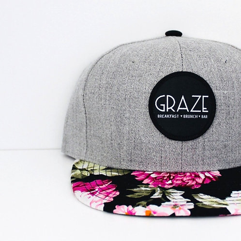 Graze Grey Floral Snapback Hat