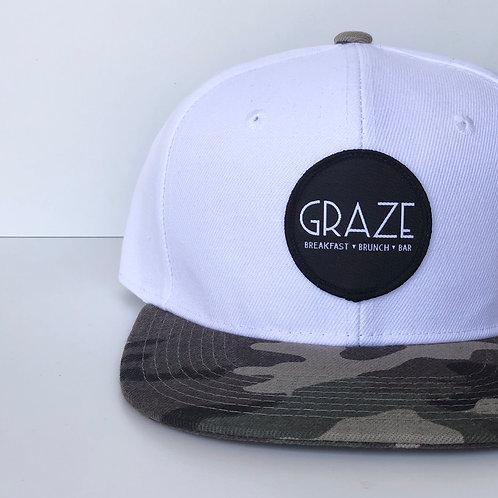 Graze White Camo Snapback Hat