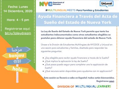 Financial Aid Through the DREAM Act/Ayuda Financiera a Través del Acta de Sueño [En Español]