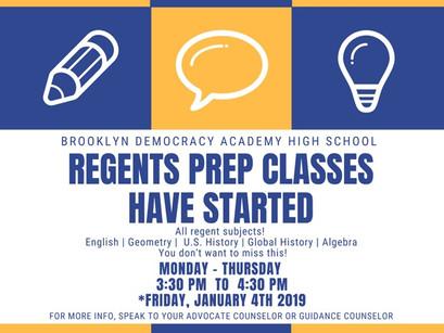Regents Prep has begun