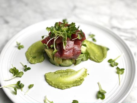 Tuna Tower with Wasabi-Avocado Sauce