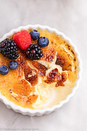 Vanilla Creme Brulle with fresh berries