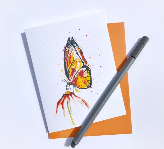 nature watercolor - orange butterfly.png