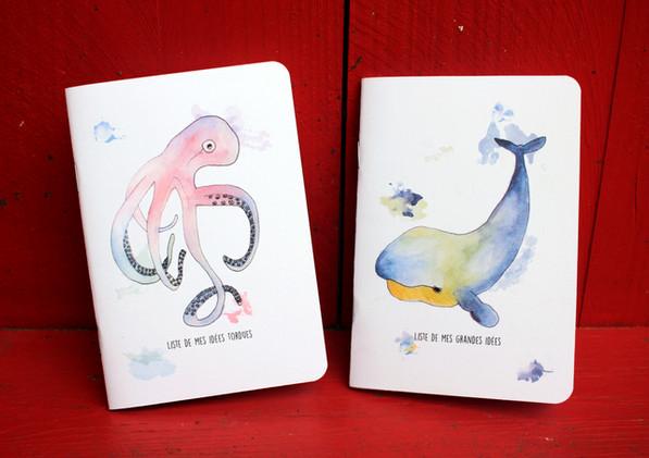 Aqua pieuvre et baleine