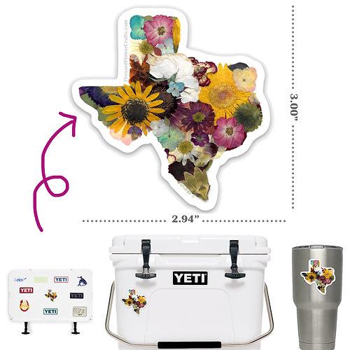 Texas Sticker - Pressed Flowers