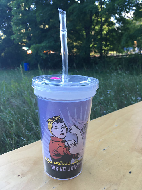 Biker Betty Reusable Tumbler Cup with Straw