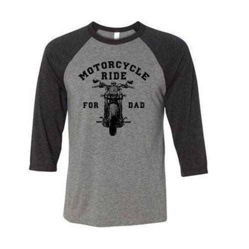 Motorcycle front 3/4 sleeves baseball look black and grey