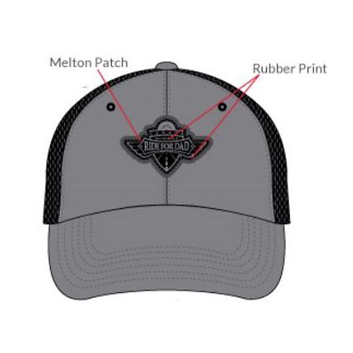 Rubber Patch logo, grey and Black Mesh back cap