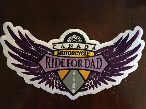 "Ladies Back patch A (13"") Ride For Dad ladies winged logo"
