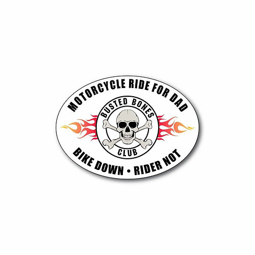 "(6"") oval shaped decal  "" Bike Down Rider Not"""