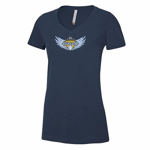 Ladies Blue V-Neck Winged Logo Navy T shirt