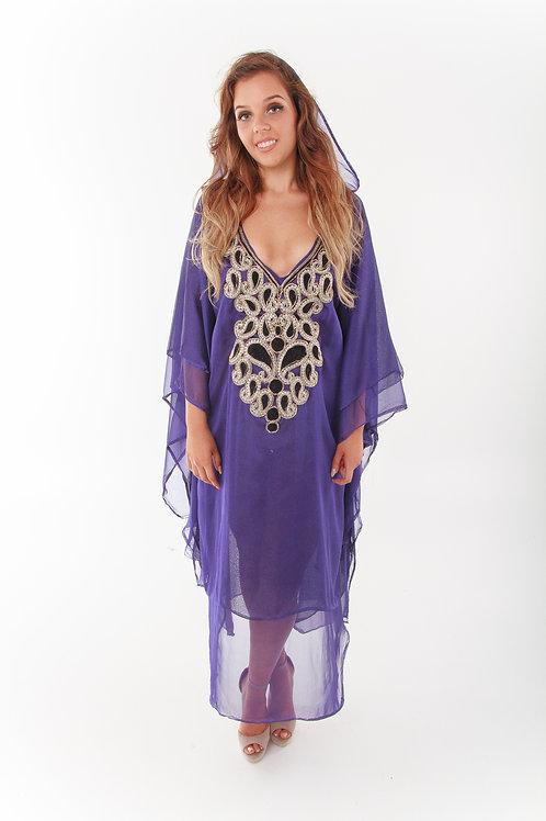 Purple Rain Hooded Kaftan