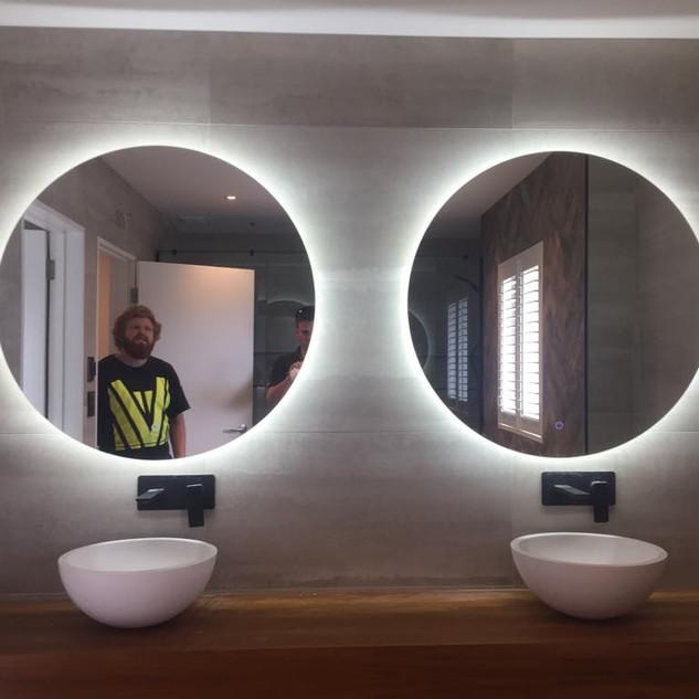 Bathroom mirrors with inbuilt LED strip