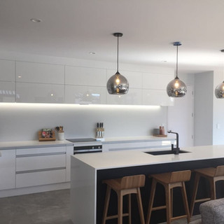 Kitchen island pendants and LED strip